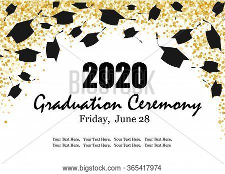 Graduation Class Ceremony Of 2020 Greeting Cards Set With Gold Confetti. Vector Grad Party Invitatio