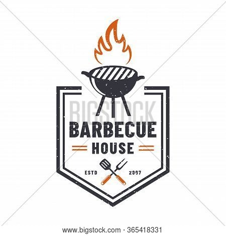 Barbecue House Logo Isolated On White Background. Retro Emblem With Grill. Vector Badge For Bbq Rest