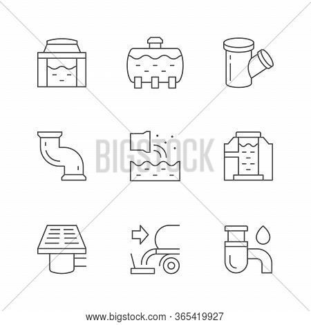 Set Line Icons Of Sewerage Isolated On White. Drain House System, Septic Tank, Sewer Water, Sewage P
