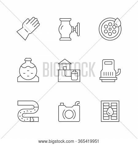 Set Line Icons Of Sewerage Isolated On White. Drain House System, Septic Tank, Sewer Pump, Sewage Bl