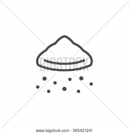 Plastic Crumb Line Outline Icon Isolated On White. Pile Of Grain, Dust, Trash. Vector Illustration