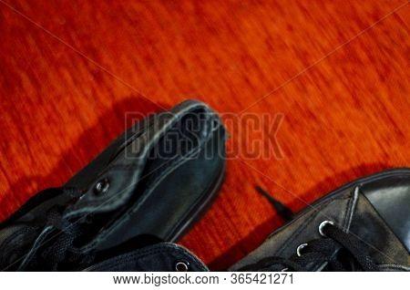 Ragged Black Stylish Shoes, Vintage Black Stylish Shoes