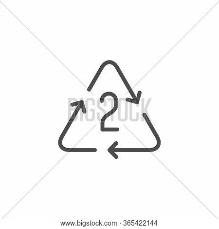 Number Of Plastic Recycling Cycles Line Outline Icon Isolated On White. Low And High Density Polyeth