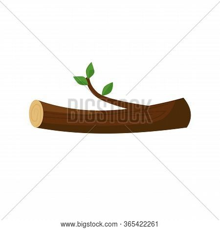 Log And Branch With Leaves Illustration. Tree Trunk, Growth, Eco Material. Wood Concept. Can Be Used