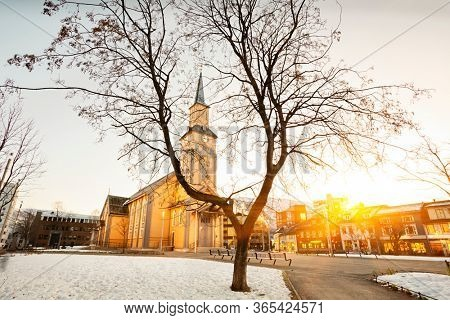 Tromso Cathedral in center of  Tromso,  Norway