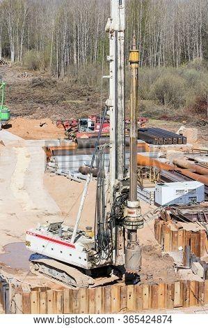 Kirishi, Russia - 8 May, Drilling Rig At The Construction Site, 8 May, 2020. Start Of Construction O