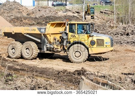 Kirishi, Russia - 8 May, Powerful Heavy Dumper For Earthworks, 8 May, 2020. Start Of Construction Of