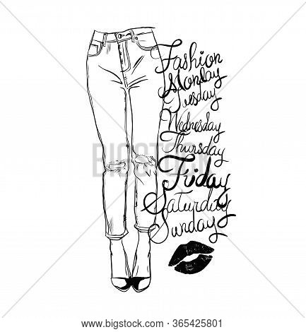 Vector Black And White Fashion Illustration Of Femail Legs In  Skinny Jeans With Holes. Perfect For