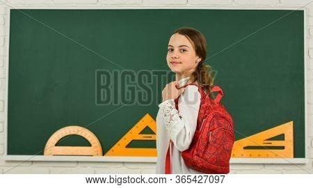 My Backpack Is Just Right. Smart Schoolgirl. School Education. Knowledge Day. Girl In School Classro