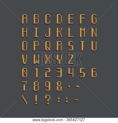Pixel Cubic Colored Latin Font. Letters, Numbers And Symbols