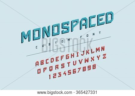 Funny Letters. Geometric Font With Grunge Textures For School Illustrations And Headers, Funny Typog