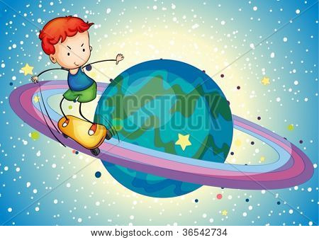 illustration of a boy on a planet saturn ring