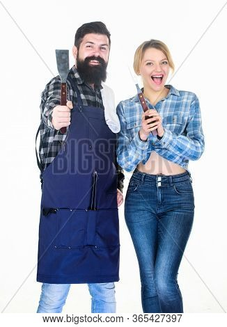 Backyard Barbecue Party. Cooking Together. Couple In Love Getting Ready For Barbecue. Man Bearded Gu