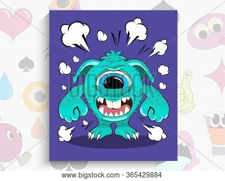 Cartoon Angry Monster. Vector Illustration Of An Excited Monster. Funny Character Monster. Isolated