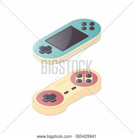 Isometric Classic Gamepad And Portable Game Console. Joypad Colorful Illustration. Vintage Gaming. I