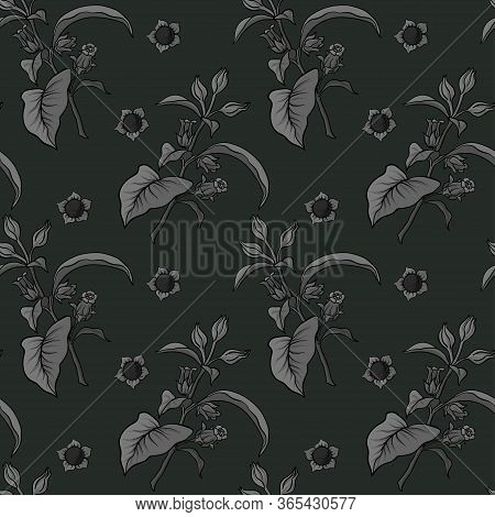 Seamless Pattern, Background With Miraculous, Hallucinogenic Plants In Botanical Style In Monochrome