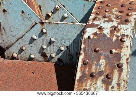 Rusty Metal Texture On Old Railway Bridge