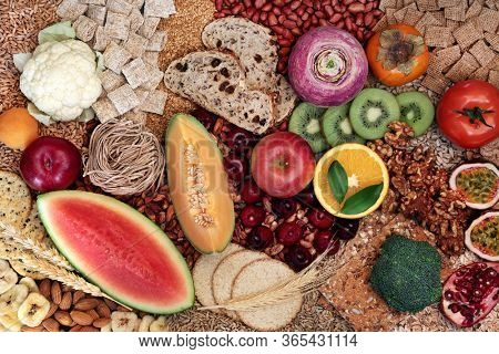 High fibre health food concept with super foods high in antioxidants, omega 3, vitamins and protein with low gi levels. Helps to lower blood pressure & cholesterol & optimise a healthy heart. Top view