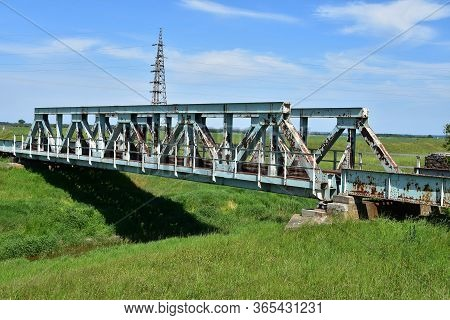 Old Rusty Metal Rail Bridge In East Serbia
