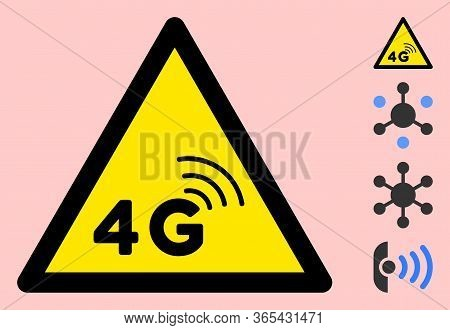 Vector 4g Network Flat Warning Sign. Triangle Icon Uses Black And Yellow Colors. Symbol Style Is A F