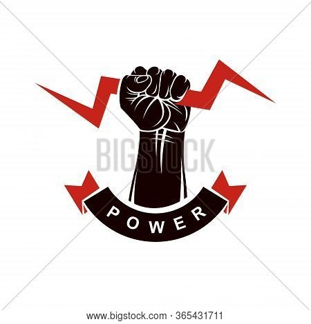 Vector Logo Composed Using Strong Muscular Raised Clenched Fist Decorated With Lightning Symbol. Pow