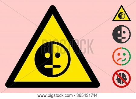 Vector Bipolar Disorder Flat Warning Sign. Triangle Icon Uses Black And Yellow Colors. Symbol Style