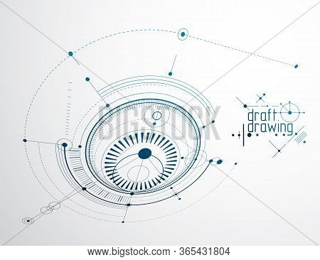 Mechanical Scheme, Vector Engineering Drawing With Circles And Geometric Parts Of Mechanism. Technic