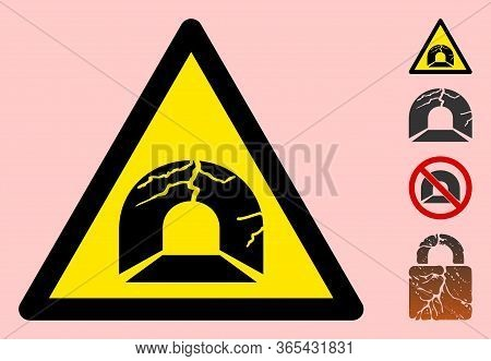 Vector Broken Tunnel Flat Warning Sign. Triangle Icon Uses Black And Yellow Colors. Symbol Style Is