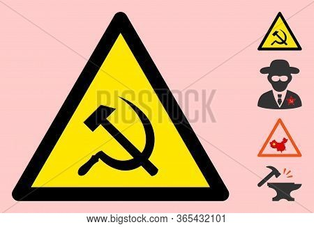 Vector Communism Flat Warning Sign. Triangle Icon Uses Black And Yellow Colors. Symbol Style Is A Fl