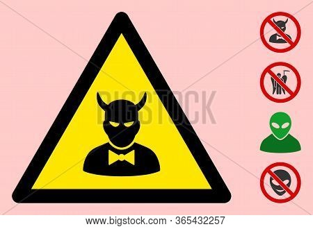 Vector Devil Flat Warning Sign. Triangle Icon Uses Black And Yellow Colors. Symbol Style Is A Flat D