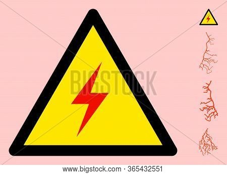 Vector Electric Spark Flat Warning Sign. Triangle Icon Uses Black And Yellow Colors. Symbol Style Is