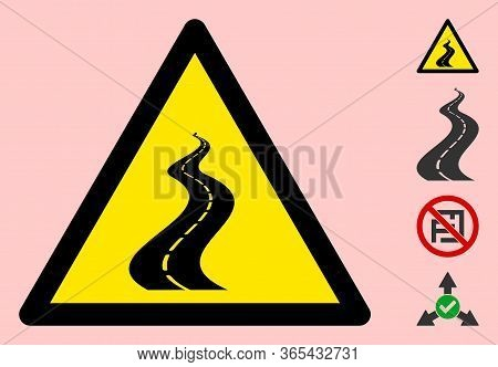 Vector Far Way Flat Warning Sign. Triangle Icon Uses Black And Yellow Colors. Symbol Style Is A Flat