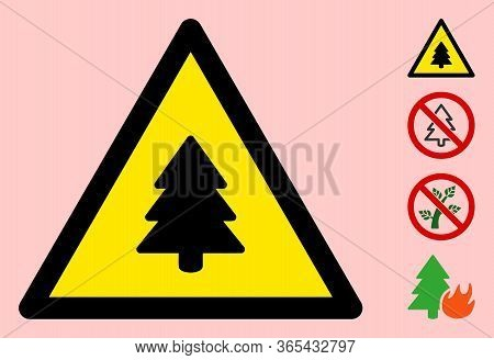 Vector Fir Tree Flat Warning Sign. Triangle Icon Uses Black And Yellow Colors. Symbol Style Is A Fla