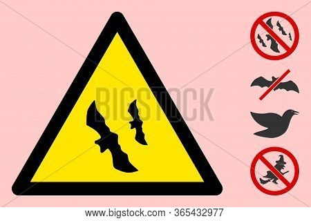 Vector Flying Bats Flat Warning Sign. Triangle Icon Uses Black And Yellow Colors. Symbol Style Is A