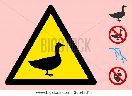 Vector Goose Flat Warning Sign. Triangle Icon Uses Black And Yellow Colors. Symbol Style Is A Flat G