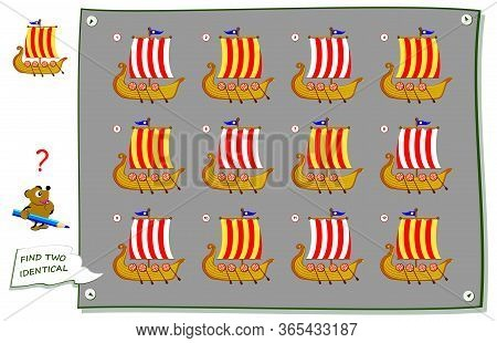 Logic Puzzle Game For Children And Adults. Find Two Identical Viking Ships. Printable Page For Kids