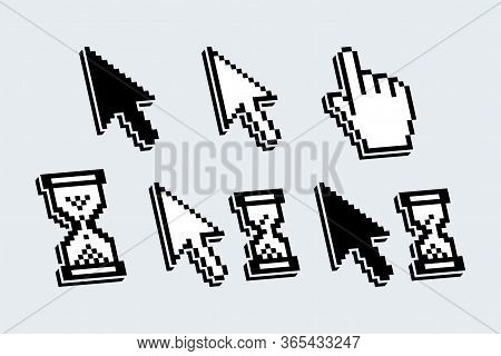 Set Of Isolated Pixelated Cursors, Pointers In Shape Of Arrow, Hand And Hour-glass