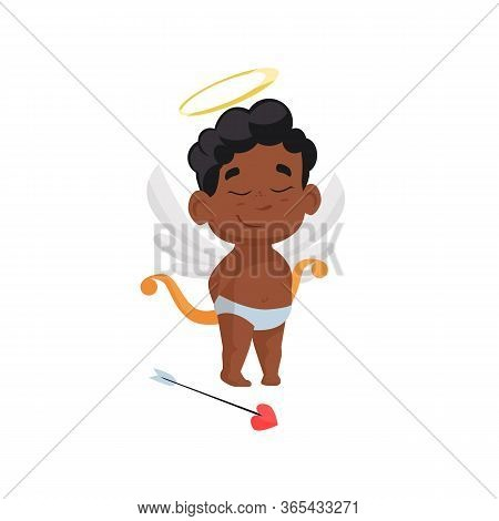 Dreamy Black Cupid In Laurel Wreath. Child, Wish, Archery, Arrow. Can Be Used For Topics Like Angel,