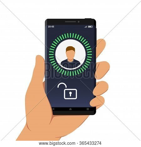 Hand Holding Smartphone With Face Id Or Facial Recognition App On Its Screen, Flat Design Style Illu