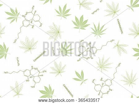 Cannabis Leaves And Cbd, Cannabidiol Formula Seamless Pattern, Background. Vector Illustration In Gr