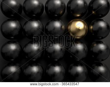 3d Rending Of One Golden Ball Among Black Plastic Ball. Concept Of Leadership And Diversity. Beatifu
