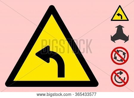 Vector Left Turn Flat Warning Sign. Triangle Icon Uses Black And Yellow Colors. Symbol Style Is A Fl
