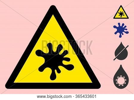 Vector Liquid Dirt Flat Warning Sign. Triangle Icon Uses Black And Yellow Colors. Symbol Style Is A