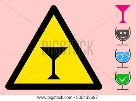 Vector Martini Glass Flat Warning Sign. Triangle Icon Uses Black And Yellow Colors. Symbol Style Is