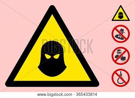 Vector Murder Balaklava Flat Warning Sign. Triangle Icon Uses Black And Yellow Colors. Symbol Style
