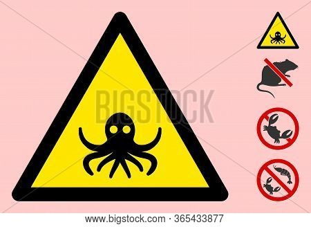 Vector Octopus Flat Warning Sign. Triangle Icon Uses Black And Yellow Colors. Symbol Style Is A Flat