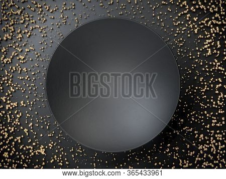 3d Render Of Black Empty Round Plate Or Banner Over Black Background And Golden Spheres. Perfect Ill