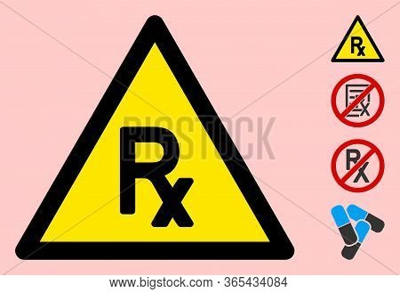 Vector Prescription Flat Warning Sign. Triangle Icon Uses Black And Yellow Colors. Symbol Style Is A