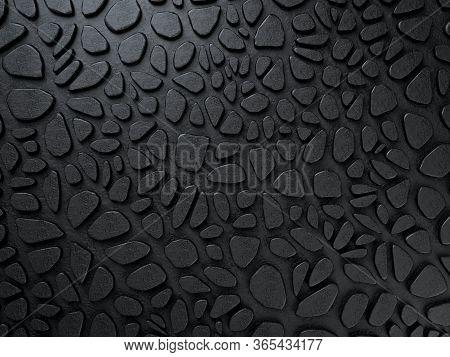 3d Render Of Black Animalistic Jaguar Pattern On Black Background. Voronoi Fracture Elements. Stylis