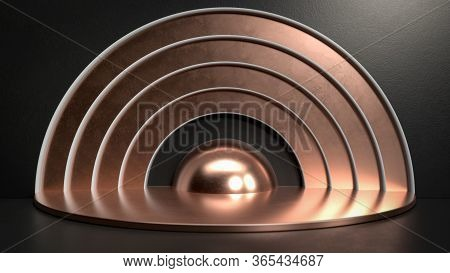 3d Render Of Copper Metal Stage, Pedestal Or Podium In Black Studio. Perfect Illustration For Placin